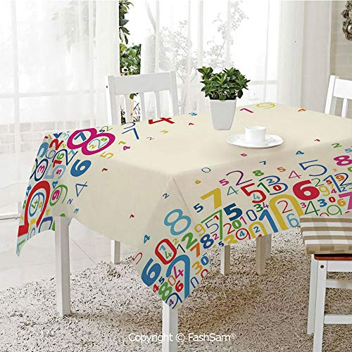 AmaUncle 3D Print Table Cloths Cover Colored Digits Falling Down Numeral Kids Framework Resistant Table Toppers (W60 xL84)]()