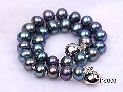 Bracelet et 925 Silver Stud boucles doreilles Set Champagne, or, noir et rose JYX Ensembles de bijoux de perle pour les femmes 6-7mm AA plat rond collier de perles deau douce