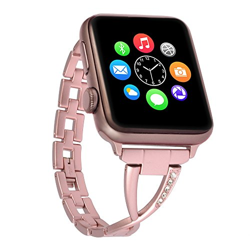 Lwsengme Apple Watch Band,Lwsengme Steel Wrist Band with Adjustable Buckle for Apple iWatch/New Apple iWatch Series 2/ Apple Watch Series 1/Nike+ (42mm-Rose Gold-02)
