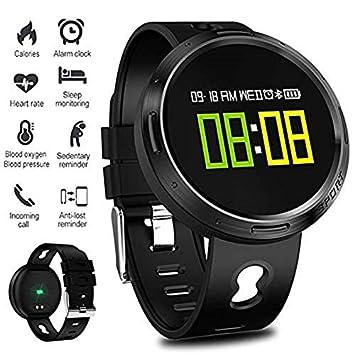 SLSH Smart Watch Hombres Mujeres IP68 Agua Densidad Frecuencia Cardíaca Tensiómetro SMS Push Smart Pulsera Fitness Reloj de Pulsera para iOS: Amazon.es: ...