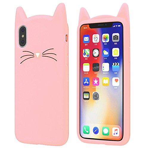 iPhone X Case, Cute Cat Whiskers Meow Party Barba Orejas de gato diseño de gato Kitty suave carcasa de silicona piel para...