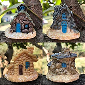 4 pcs miniature fairy garden house mini stone house mini fairy cottage house for garden decoration miniature fairy garden ornaments kit for micro landscape decoration 4 pcs miniature stone house