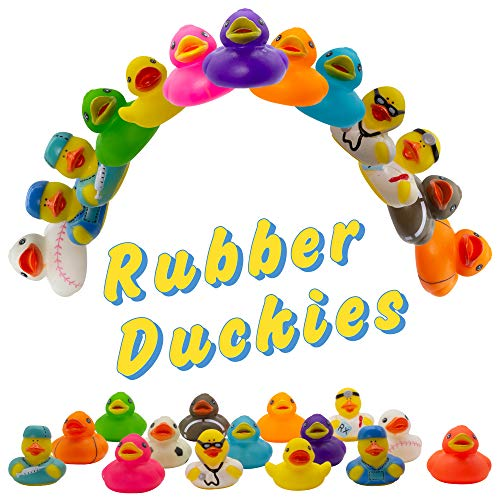 Fun Central 50 Pack – 2 inch Mini Rubber Duckies – Small Rubber Duck Bath Toys for Toddlers, Boys, Girls in Bulk – BPA Free