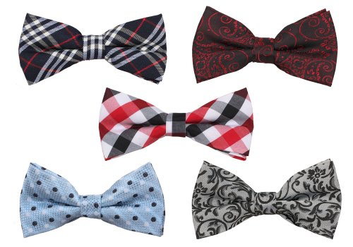 Bundle Monster Mens Tuxedo Solid Patterned Adjustable Neck Bowtie Bow Tie 5pc Assorted Lot Set -      - Assorted Bows