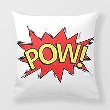 Yourway Decorative Throw Pillow Pow! - Superhero Comic Book Red Yellow Bubble Decorative Pillow Case
