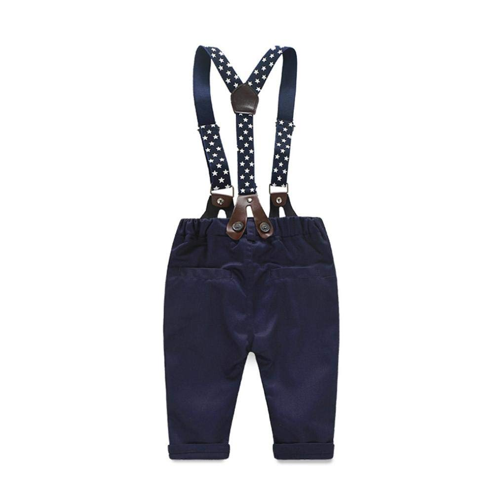 Toddler Infant Baby Boys Bow Checked Shirt+Suspender Pants,2Pcs Little Gentleman Outfits Clothes Sets Sameno for 0-24 Months