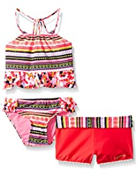LiMiTeD Too Girls' Aztec Tankini and Turnback Waistband