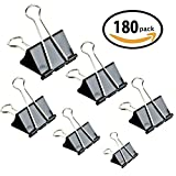 Binder Clips -180 Pcs Paper Clamp for Paper Clips Paper Binder Assorted Sizes (Black)