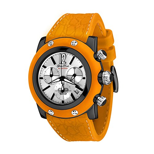 Glam Rock Unisex Summer Time 46mm Orange Leather Band IP Steel Case Swiss Quartz Analog Watch GR30113OOF