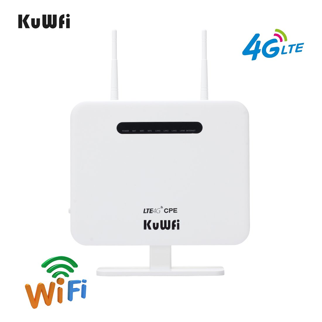 4G Wi-Fi Router, KuWFi 300Mbps Unlocked 4G LTE WIFI Mobile Modem 3G 4G AP  WiFi Router WFi Hotspot With SIM Card Solt Support Work with 3 / EE / O2 /