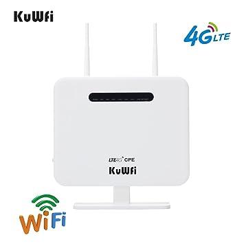 KuWFi Router inalámbrico, 300Mbps Desbloqueado 4G LTE WiFi Mobile Modem 3G 4G Ap WiFi Router