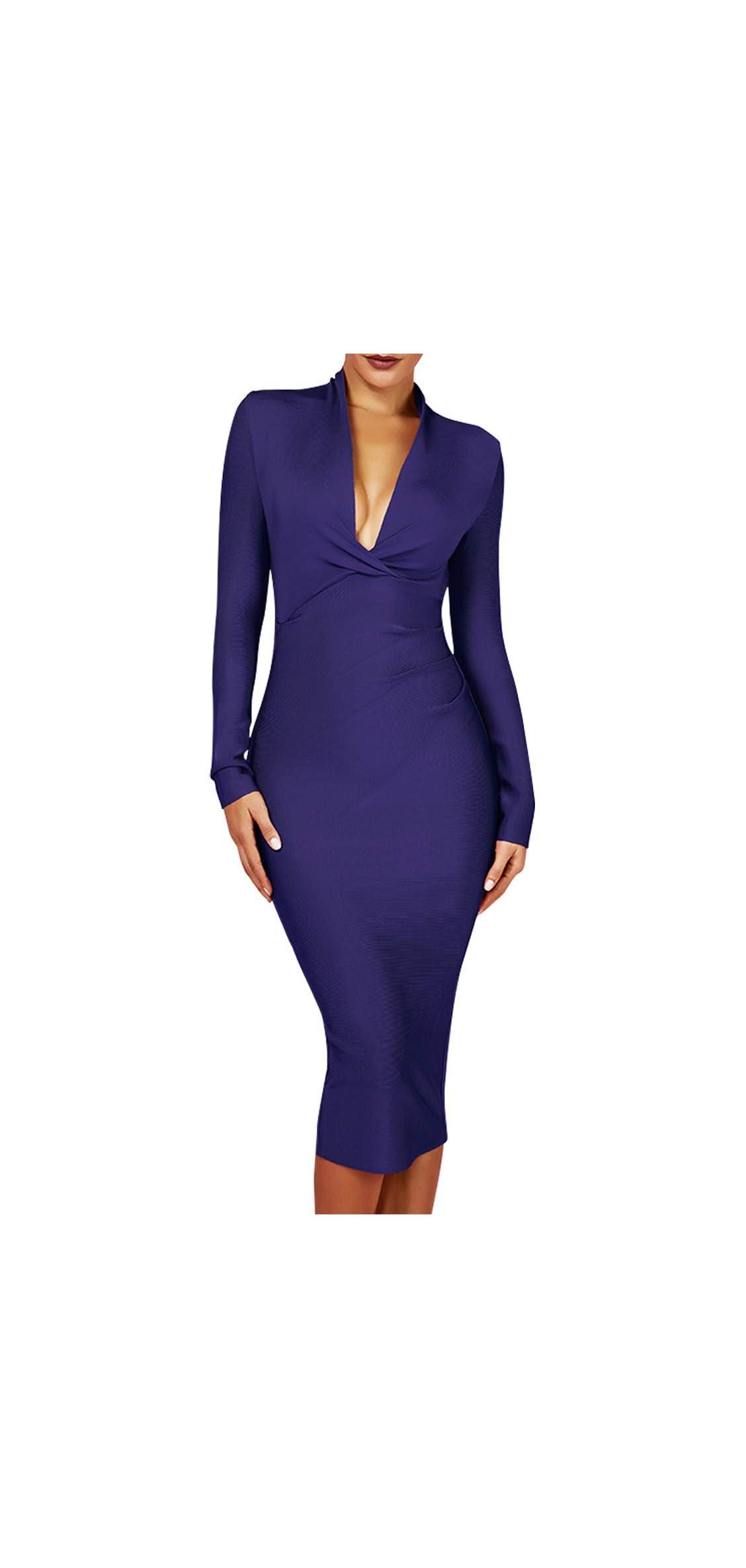 Women's Deep Plunge V Neck Long Sleeves Draped Knee Dress