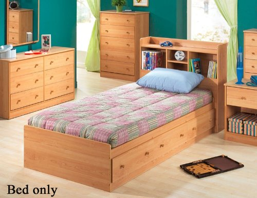 - Twin Size Mates Bed with Bookcase Headboard in Oak Finish