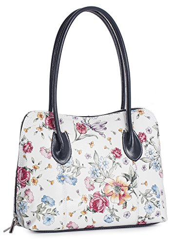 LIATALIA Womens Ladies Genuine Italian Leather Top Handle Medium Satchel Shoulder Handbag - CHELSEA Floral - Grey Trim