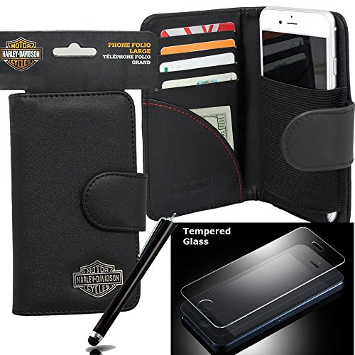 Harley Davidson Credit Card and Cash Wallet Case for iPhone 6s PLUS, iPhone 6 PLUS with tempered glass screen protector, stylus pen.