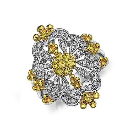 Rhodium Plated Antique Style Ring (Bling Jewelry Antique Style Simulated Citrine CZ Cocktail Ring Rhodium Plated)