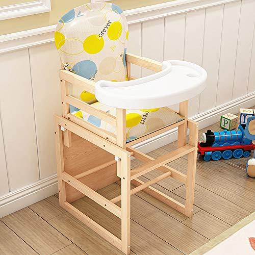 Hzl Baby Trona - Silla alta de bebé, 2 en 1 De madera mesa con bandeja extraíble - altura ajustable 0-6 años de edad,3