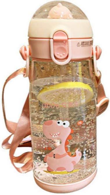MOSHEN Botella,Hervidor De Agua,Botella De Viaje,Botella Lindo Dinosaurio Tridimensional Vaso De Plástico Paja Infantil