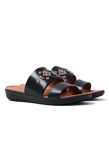 c76e3ea5a Fitflop Women s Delta Leather Crystal Slide Sandals - Black