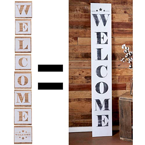 tencil Farmhouse Stencils Welcome Calligraphy Stencils Large Beautiful Portable Stencils DIY Welcome Stencil for Painting On Wood Welcome Antique Decor, Wedding Signs ()