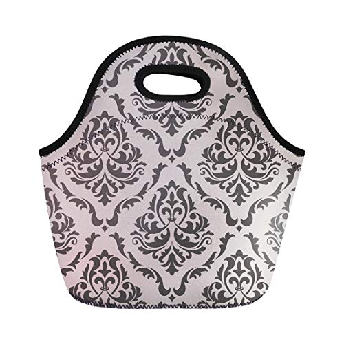 Semtomn Lunch Tote Bag Gray Damask Floral Pattern in Victorian Gallery Baroque Royal Reusable Neoprene Insulated Thermal Outdoor Picnic Lunchbox for Men Women