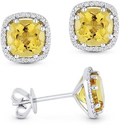 Cushion-Cut Gemstone (2.67ct) & White Diamond Halo Stud Martini Stud Earring Set In 14K Gold