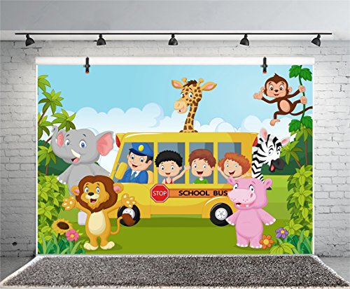 Leyiyi 7x5ft Photography Background Cartoon Birthday Backdrop Zoo Animals Kindergarten School Bus Jungle Zebra Elephant Lion Grassland Mountain Baby Shower Photo Portrait Vinyl Studio Video Prop (Zoo Background)