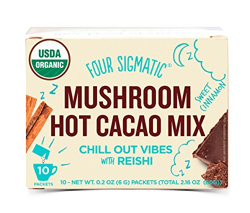 Four Sigmatic Organic Mushroom Hot Cacao with Reishi to Relieve Stress, Vegan, Paleo, 0.2 Ounce (10 Count) (Four Beverages)