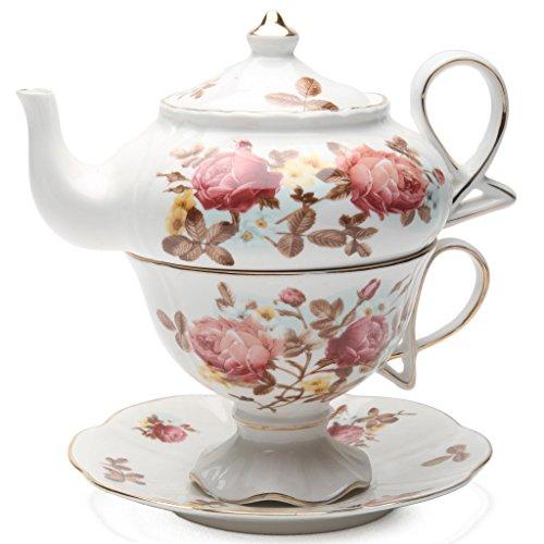 One Tea Set (Grace Teaware Porcelain 4-Piece Tea For One (Dusty Rose Gold Trimmed))