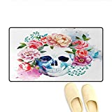 Door-mat,Funny Skull with Colorful Floral Head Victorian Style...