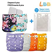 Baby Pocket Cloth Diapers Reusable with Adjustable Snap, 6 pcs + 6 Inserts