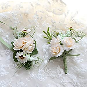 Florashop Little Satin Roses Berry Corsage and Boutonniere Pack Wedding Bridal Bridesmaid Wrist Corsage Band Men's Groom Bridegroom Boutonniere for Wedding Prom Party Homecoming (Ivory) 1