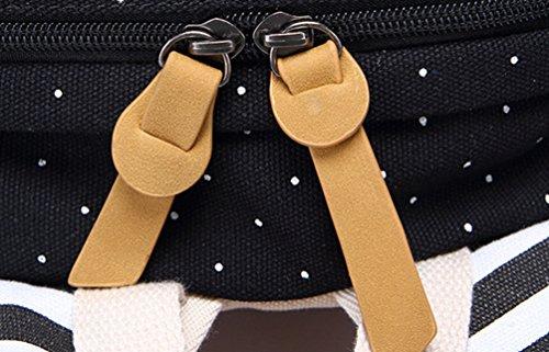 WanYang Mujer/ Hombre 3 Piezas Casual Ligero Lienzo portátil Bolsa Bolso de Hombro Mochila Escolar Negro