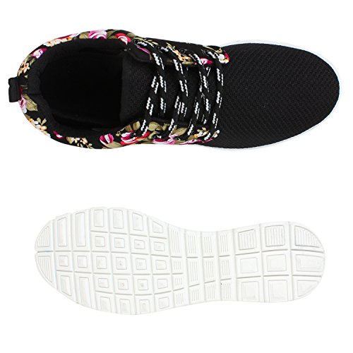 Stiefelparadies Damen Sportschuhe Muster Laufschuhe Runners Sneakers Schuhe Strass Metallic Flandell Schwarz Weiss Blumen