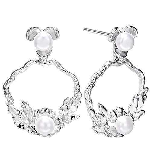 Cuicanstar Women's Silver Plated Double Pearl Flower Hoop Stud Drop Dangle Earrings (Double Flower Hoop)