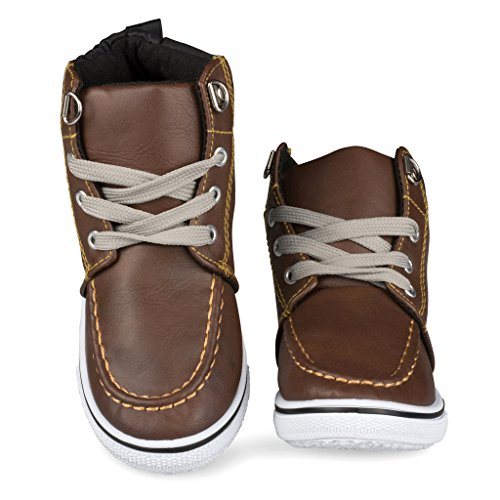 [C9100-BRN-6] Boys High Top Sneakers: Workboot Style Tennis Shoes, Moc Toe, Size 6