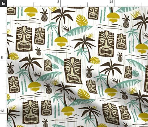 (Spoonflower Brown Tiki Fabric - Mid Century Vintage Hawaiian Tiki Palm Trees Tiki Tropical Hawaii Vintage Midcentury Modern by Heatherdutton Printed on Petal Signature Cotton Fabric by The Yard)