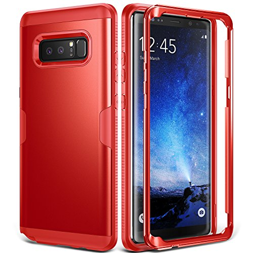 (Galaxy Note 8 Case, YOUMAKER Full Body Heavy Duty Protection Shockproof Slim Fit Case Cover for Samsung Galaxy Note 8 (2017 Release) Without Built-in Screen Protector (Red/Red))