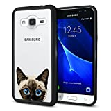 FINCIBO Galaxy J3 J310 Case, Slim Shock Absorbing TPU Bumper + Clear Hard Back Protective Cover For Samsung Galaxy J3 J310 J320 2016 Express Prime - Siamese Kitten Cat