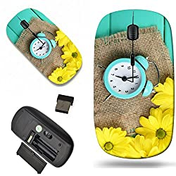 Luxlady Wireless Mouse Travel 2.4G Wireless Mice with USB Receiver, 1000 DPI for notebook, pc, laptop, macdesign IMAGE ID: 27236555 clock and beautiful flowers on blue wooden background