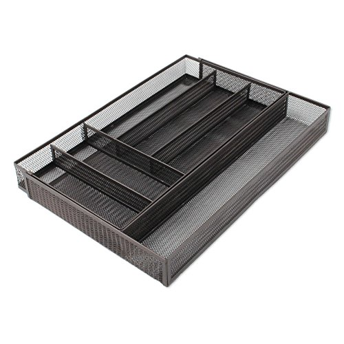 ted 16.5 inch x 11.5 inch Expandable to 18.4 inch Mesh Drawer Organizer in Bronze ()