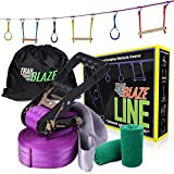 Trailblaze Ninja Line Hanging Obstacle Course for Kids - 40' Set for Backyard American Ninja Warrior Obstacles - Slackline Monkey Bars Kit + Tree Protectors - Carry Bag Included