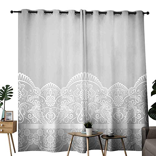 (duommhome Grey Decor Polyester Curtain Victorian Fashion Style Wedding Ethnic Mesh Paisley Motif Renaissance Kitsch Artwork Provide You with a Good Indoor Environment W84 xL72 White)