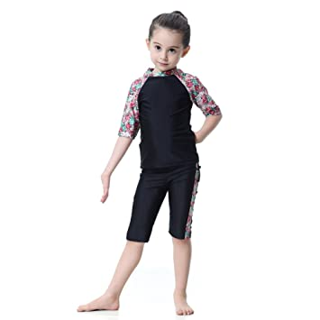 650e7bb81cdb8 Hougood Girls Muslim Swimming Costumes Three-Piece Swimsuits Tankinis Kids  Short Sleeves Islamic Muslim Modest