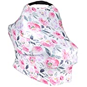 Stadela Baby Nursing Breastfeeding Cover, Car Seat Canopy, Shopping Cart, High Chair, Stroller and Carseat Cover for Girl - Stretchy Infinity Scarf and Shawl, Watercolor Flowers Floral
