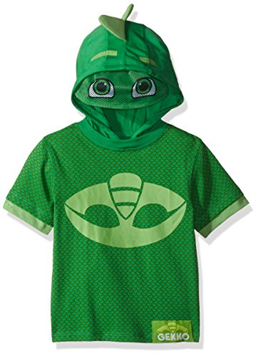 PJ Masks Boys' Toddler Gekko and Catboy Hoodie, Green Short Sleeve, 2T]()