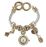 Soulvin Women Retro Love Heart Pendant Charm Rhinestones Weave Belt Bracelet Watch Silver