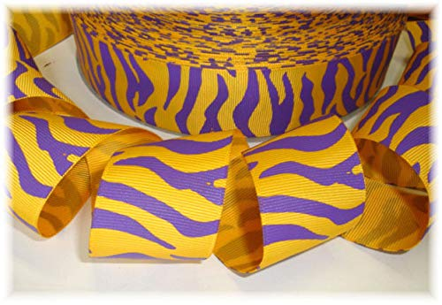 Ribbon Art Craft Perfect Solution for Any Project Decoration 1 Yard 1.5 Purple Yellow Gold Zebra Stripe Grosgrain Ribbon 4 HAIRBOW Cheer Bow