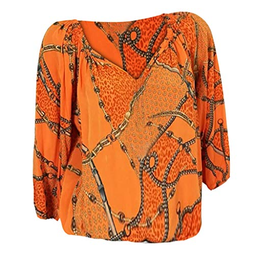 (Womens Sexy Tops 2019, YEZIJIN Women Plus Size Loose Print V-Neck Long Sleeve Blouse Pullover Tops Shirt Orange)