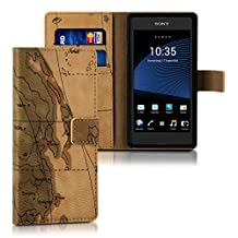 kwmobile Chic synthetic leather case for the Sony Xperia E3 with convenient stand function - Design map in brown beige